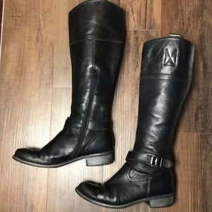 Aldo Tall Black Leather Boots Size 8